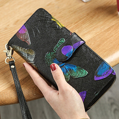 Rose Painting Genuine Leather Women Flower Wallet Long Hasp Female Clutch Carteras Purse Wallet Women Phone Coin Bay Lady