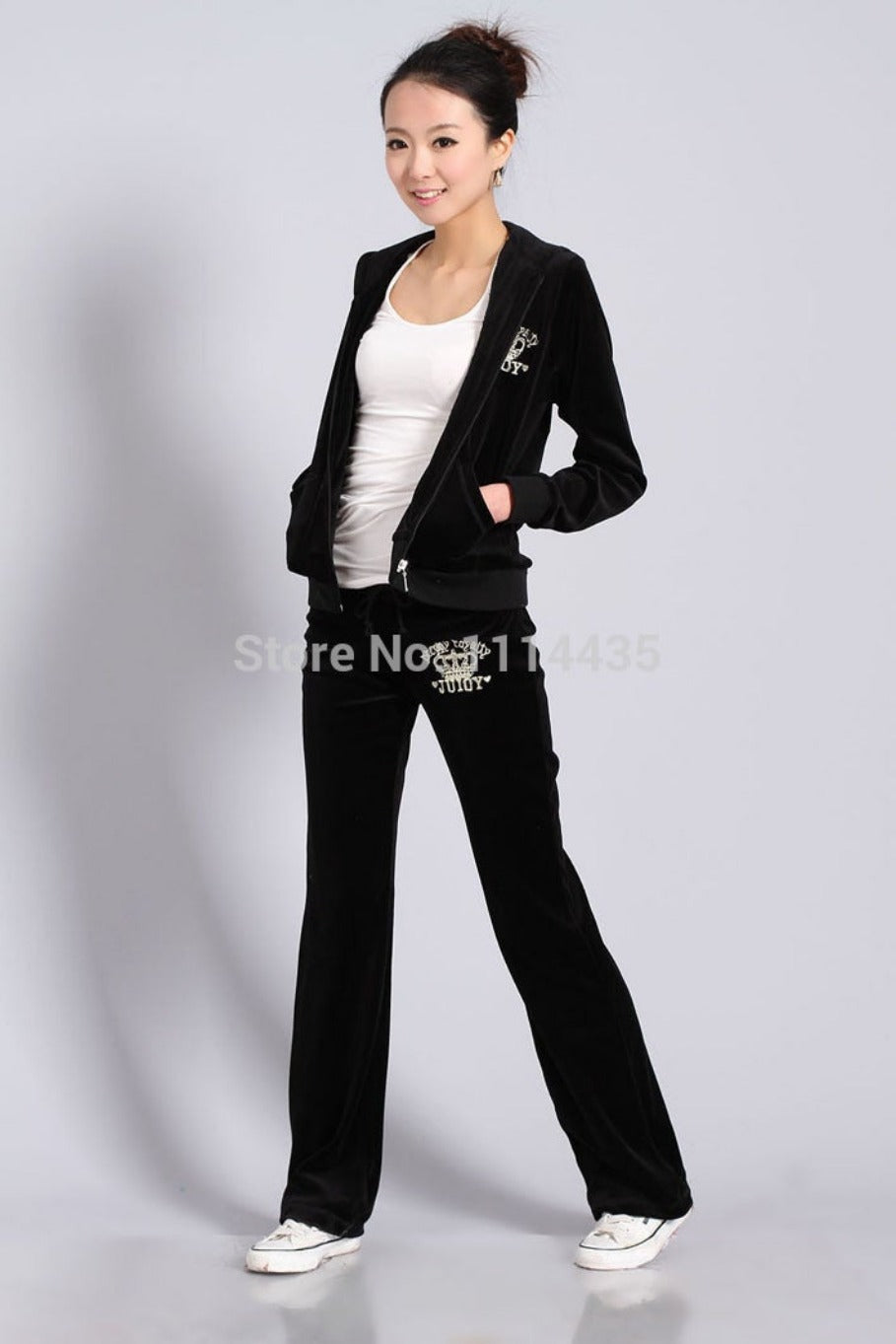 Spring / Fall Women's Velvet Fabric Tracksuits Velour Suit Women Track Suit Hoodies And Pants black