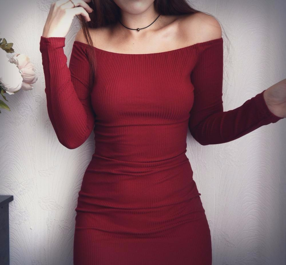 Fashion Long Sleeve Off Shoulder Slash Neck Sexy Club Women Dress Slim Body Con Knitted Sweater Knee-Length Party Night Dresses-Dress-SheSimplyShops