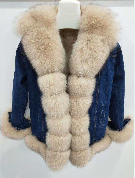 brand Fur Rex Rabbit Fur Lining Women Winter Genuine Fox Fur Collar Jacket Woman Warm Coat