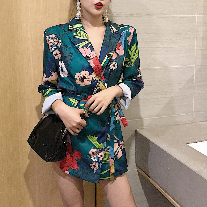 High Street Notched Collar print Women Blazer Single Breasted Autumn Jacket 2019 Casual Pockets Female Suits  Kawaii Coat