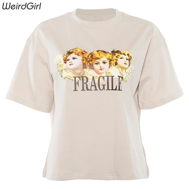 Weirdgirl Women Baby Angel Printing Casual T-shirts letter Short Sleeve O-Neck Khaki Loose Female Tees Summer