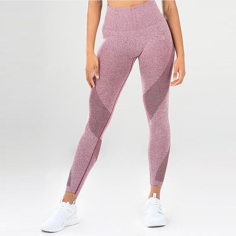 Kaminsky 2 Piece Set Tracksuit Women Solid Color Knit Casual Mesh Stitching Fitness Set Polyester High Waist Slimming Suit