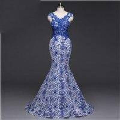 Poems Songs Long Evening Dress Backless Luxury Blue formal party dress prom gowns