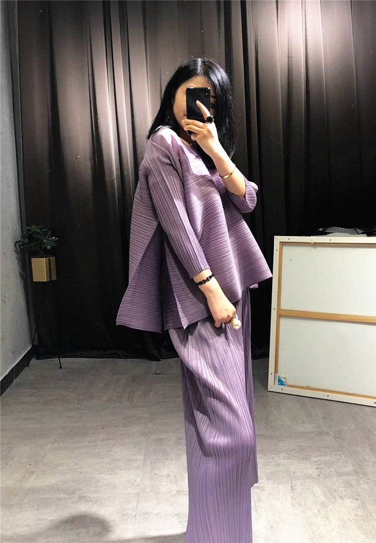 Changpleat loose women sets Miyak Pleated fashion Solid wide leg pants and T-shirts Two pieces Female Suits Plus Size Tide
