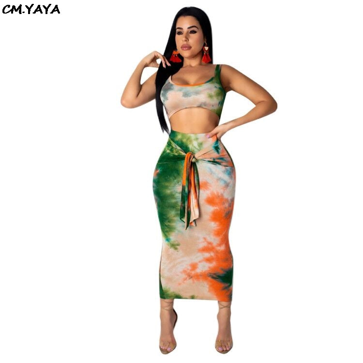 women sleeveless print vest tie up ankle length midi bodycon skirts suits two piece set tracksuit outfit 3 color S3515