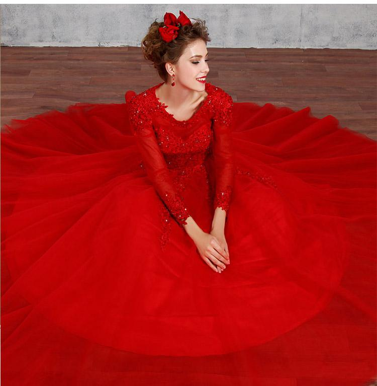 Winter Marriage Banquet Colorful Long Sleeve Evening Dress Lace Embroidery Luxury Party Prom Dress-Dress-SheSimplyShops