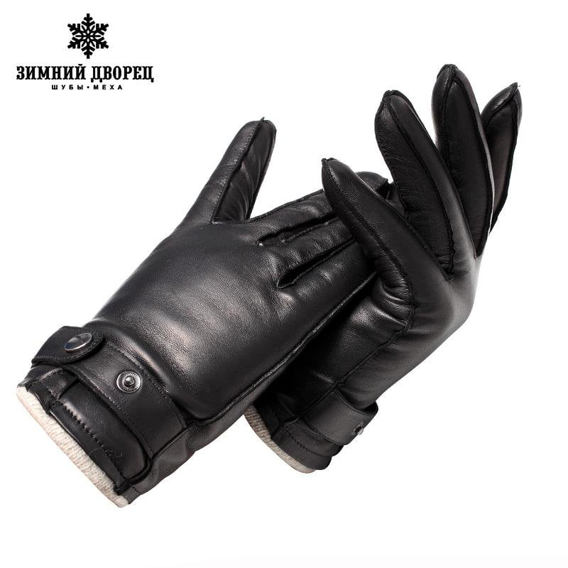 Genuine Leather mittens Top Grade gloves male Fashion leather gloves Vintage driving gloves warm gloves winter Brown lambskin-Tops-SheSimplyShops