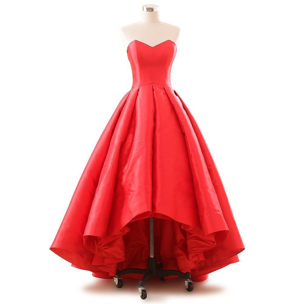 Asymmetrical Short and long The Long Evening Dress Red Color Satin Strapless Pary Dress-Dress-SheSimplyShops