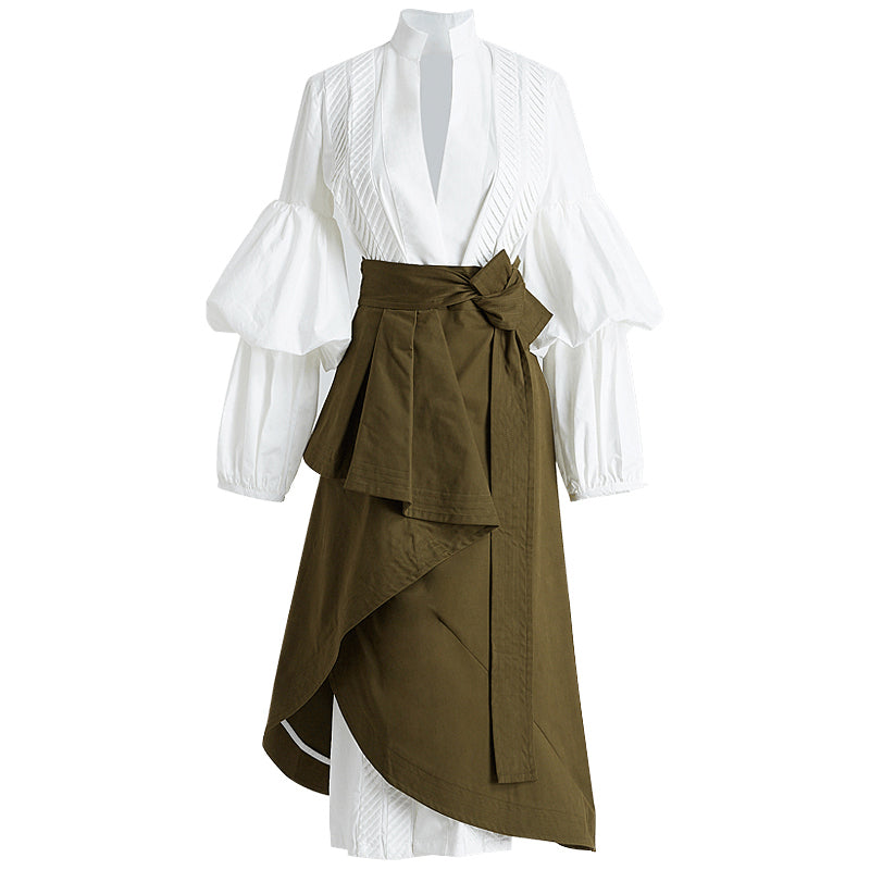 CHICEVER Autumn Two Pieces Set Women Suit Puff Sleeve White Shirt With High Waist irregular Midi Skirt Clothes Korean