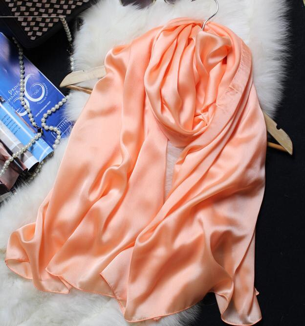Silk Scarf Women 100% Natural Silk Wraps Shawls and Scarves 180*90cm Hijabs Solider Colors Beach Cover up