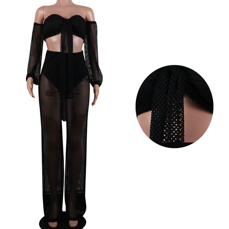 2019 Sexy 2 Piece Set Women Off Shoulder Wrapped Chest Lantern Sleeve Lace Up Hollow Out Wide Leg Pants Evening Party Clothes
