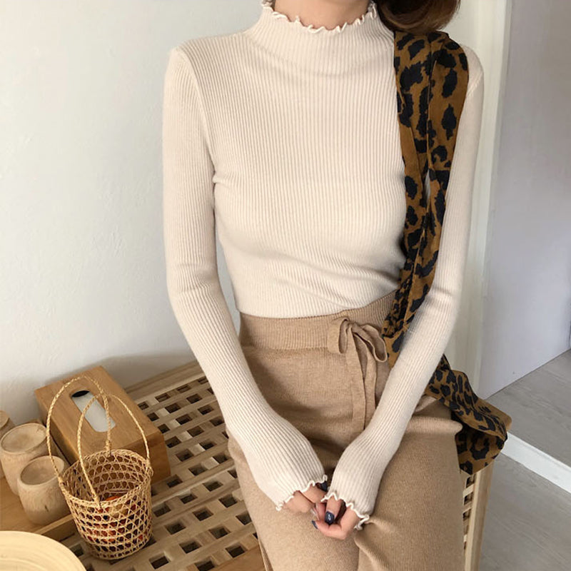 Sueter Mujer Invierno 2020 New Ruched Women Sweater Slim Vintage Clothes Knitted Turtleneck Elastic Fall Winter Women Pullovers