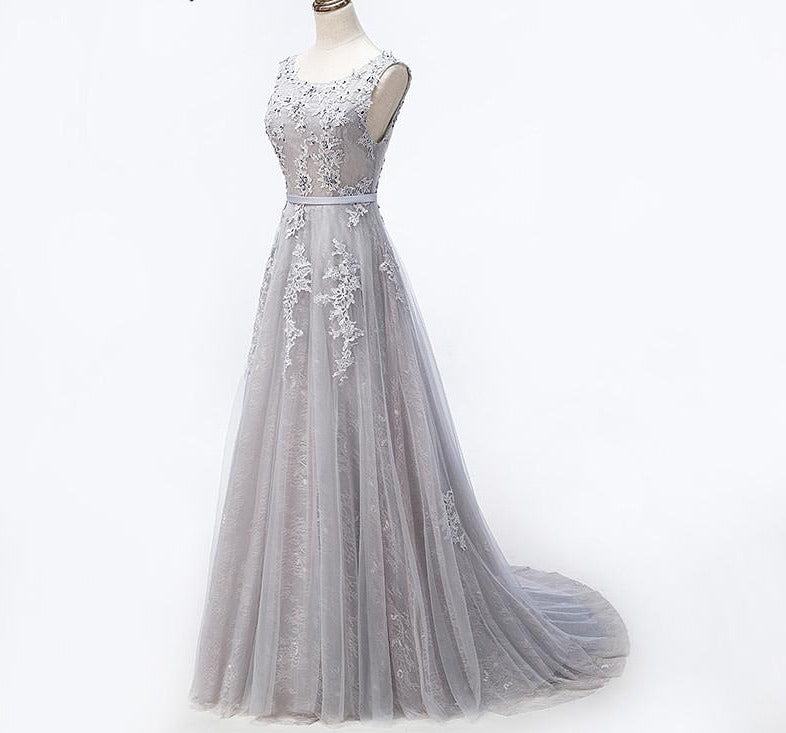 Grey Sexy Backless Tulle A-Line Evening Dress Beading Appliques Sleeveless Evening Party-Dress-SheSimplyShops