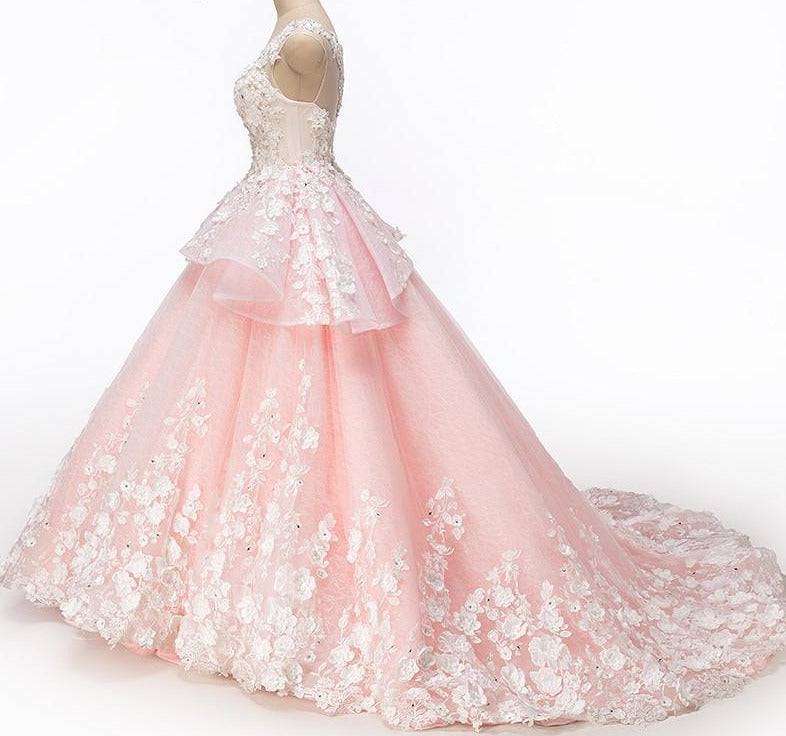 New Pink Pearls Diamond Tulle Wedding Dresses Luxury Sleeveless Bridal Dress-Dress-SheSimplyShops