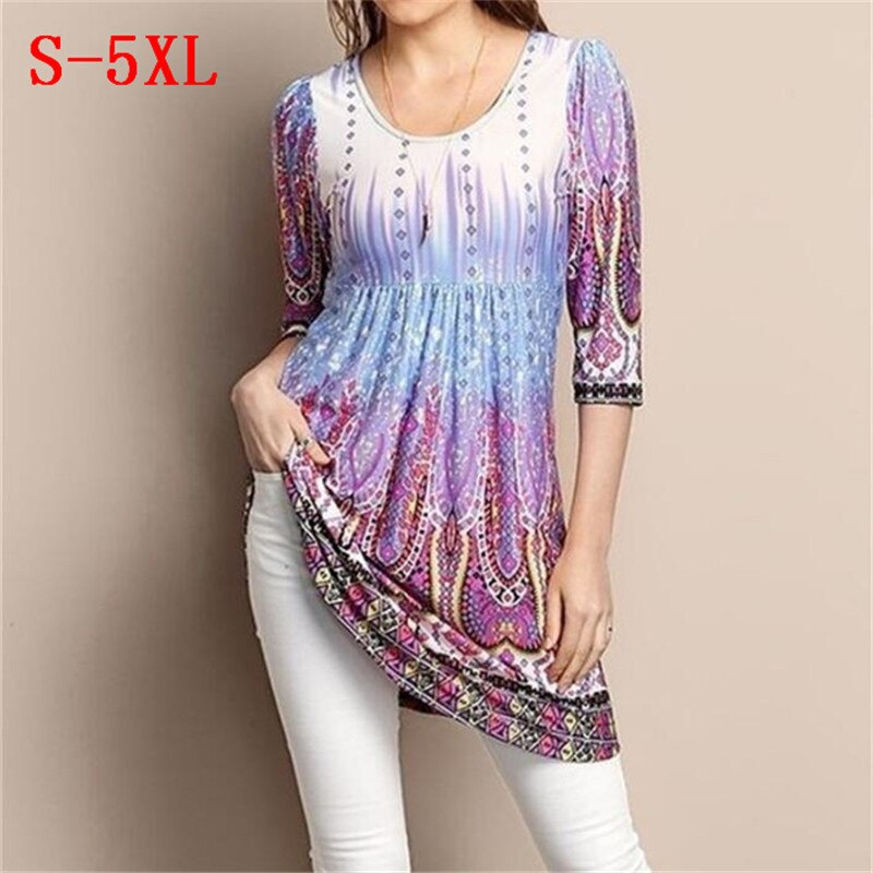 Plus Size Women Hot Tops Three Quarter Sleeve O Neck Vintage Printed T Shirts Summer Autumn 2019 Casual Loose Pleated Tees S-5XL
