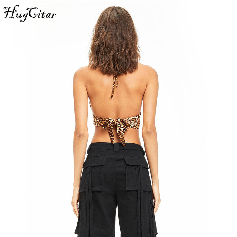 Hugcitar leopard Printed halter patchwork backless bandage lace up sexy crop tops 2018 summer women fashion club camis