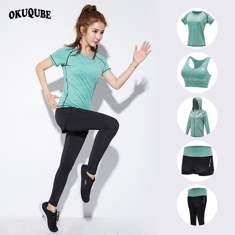OKUQUBE 2018 New Women Sport Suit Traceless Yoga Clothing Solid Fitness Wear Female Elastic Gym Set Breathable S-XXL Sportswear
