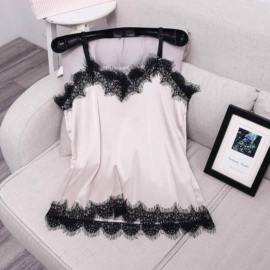 [ALPHALMODA] Summer Lace Patchwork Women's Fashion Satin Camisole Candy Color Adjustable Female Sexy Sling Tops