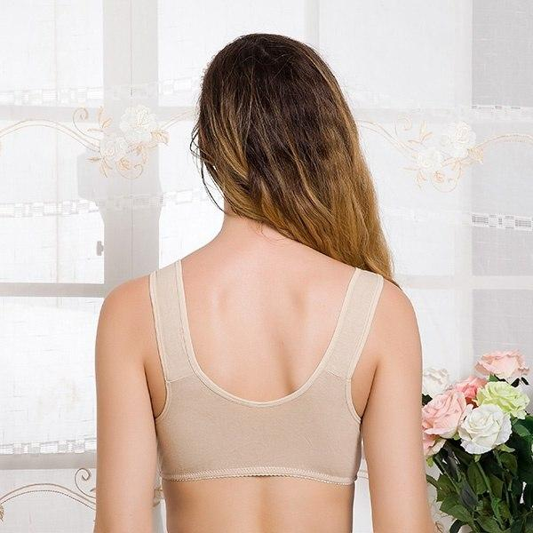 Xiushiren Lady Soft Cotton Wire-free Bras Women Front Closure Full Cup Unlined Basic Bralettes Breathable Healthy Floral Bra Bh