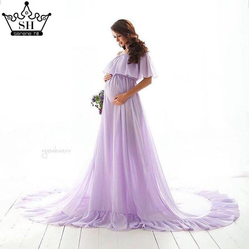 Purple Sleeveless Sexy Chiffon Wedding Dresses Pregnant Photography Simple Wedding Gowns-Dress-SheSimplyShops