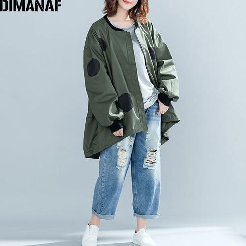 DIMANAF Women Jacket Coat Big Sizes Cardigan Zipper Female Clothes Loose Oversized Autumn Winter Outerwear Print Polka Dot
