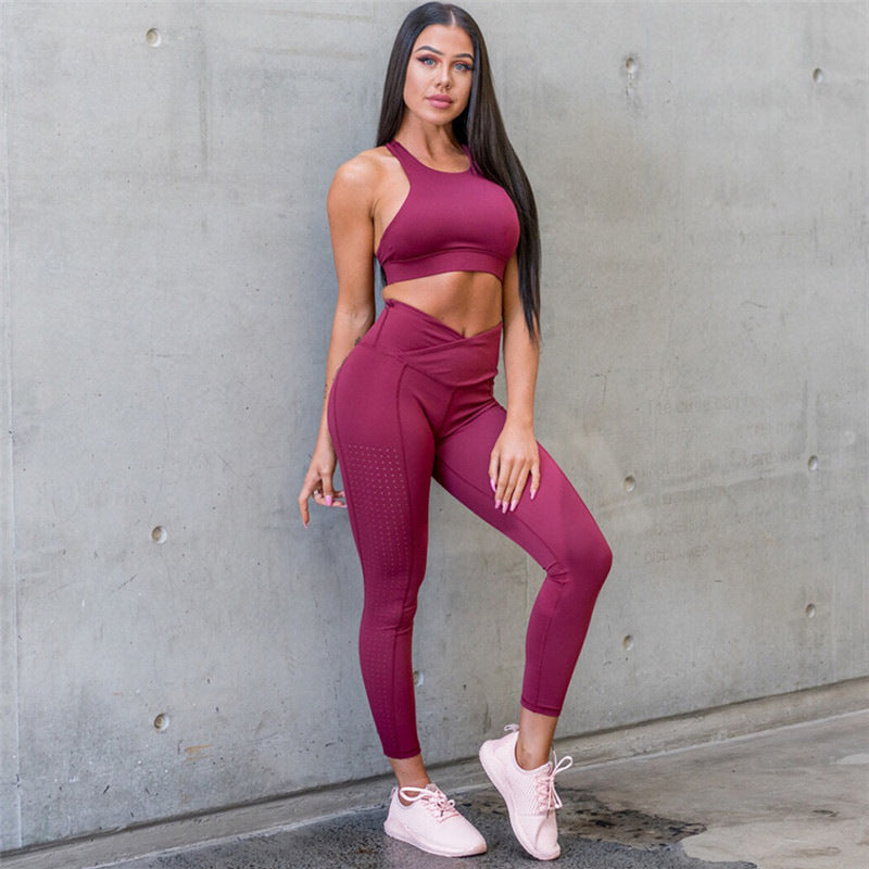 Women'S Sets Solid Color Workout Two Piece Suit Fitness Clothing High Waist Push Up Leggings   And Tops Polyester Casual Suit