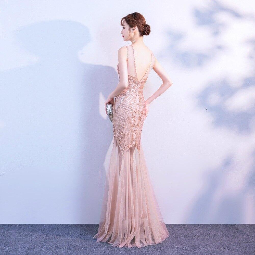 Popodion Evening Dress Sexy Perspective Backless  Party Dress Sleeveless Sequin Tank Dress Female N1028