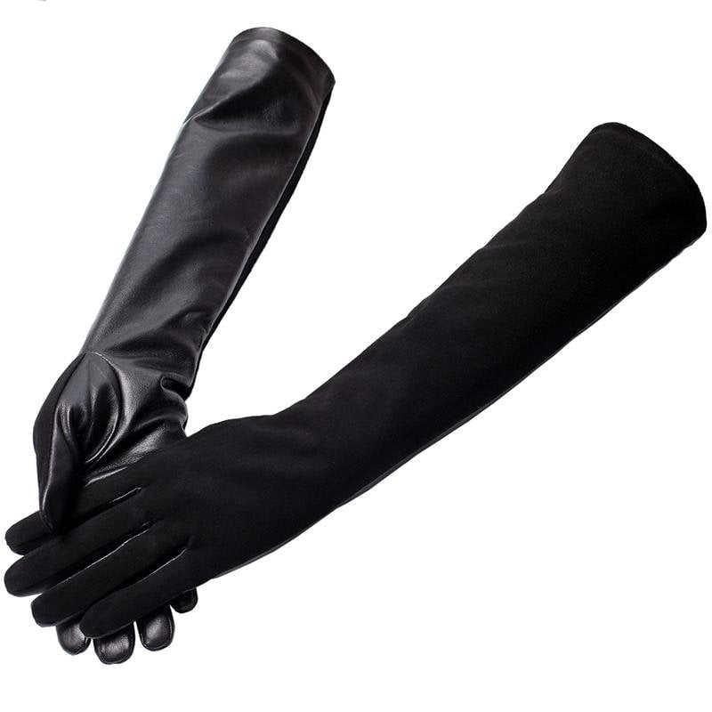 Fashion Style long leather gloves,goat skin,Adult,Genuine Leather,Warm lined,Black leather gloves-GLOVES-SheSimplyShops