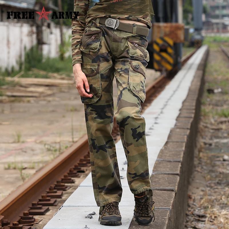 Women's Camouflage Pants Pockets Cotton Casual Loose Full Length Cargo Women Pants Winter Outer Wear-PANTS-SheSimplyShops