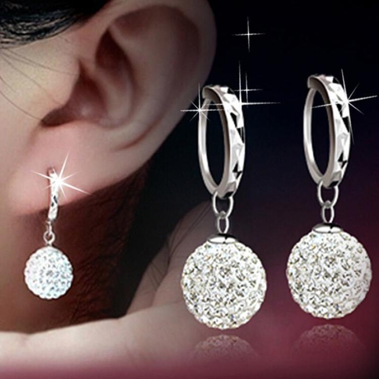 Fashion Jewelry Accessories Crystal Rhinestones Inlaid Woman Dangle Earrings Color Silver Plated-Dress-SheSimplyShops