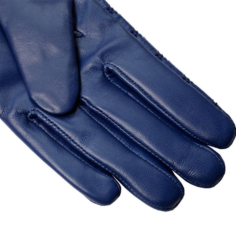 Long Gloves Genuine Leather Cotton Adult Dark Blue Fur Gloves Spandex Leather Gloves-GLOVES-SheSimplyShops
