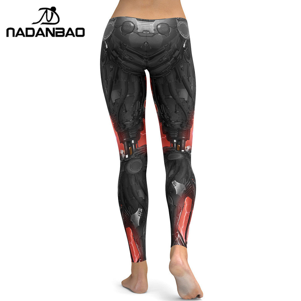 NADANBAO New Style Leggings Women Mechanical 3D Digital Printing Fitness Legging Cool Robot Leggins High Waist Trousers Pants