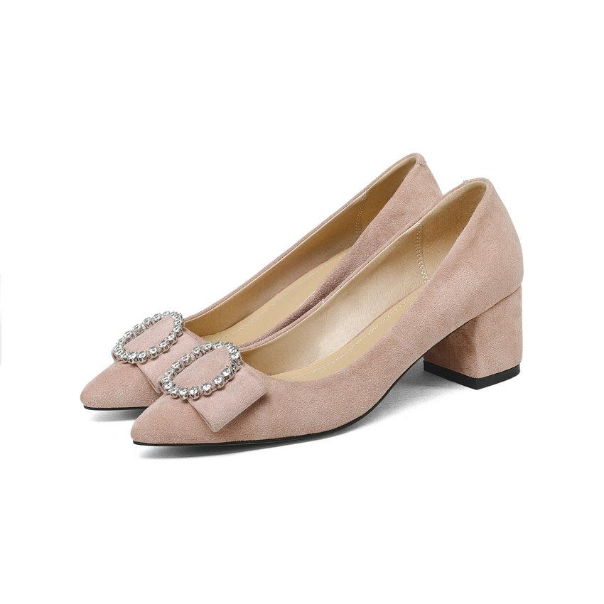 Women Pumps Shoes Slip on Crystal Sweet Style Slip on Square High Heels Flock Pointed Toe Women Shoes Size 34-43-SLIPS-SheSimplyShops