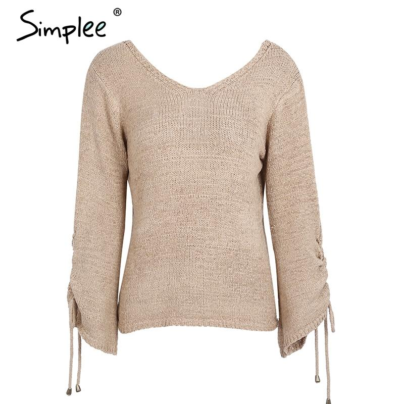 Lace up knitted sweater pullover Women casual loose sweater jumper Female sexy v neck flare sleeve autumn sweater-SWEATERS + CARDIGANS-SheSimplyShops