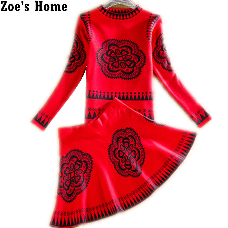 Women Retro Sweater+Skirts Sets Spring Autumn Winter Vintage Printed Female Woman Knitting Sweaters Tops+Skirt 2PCS Set