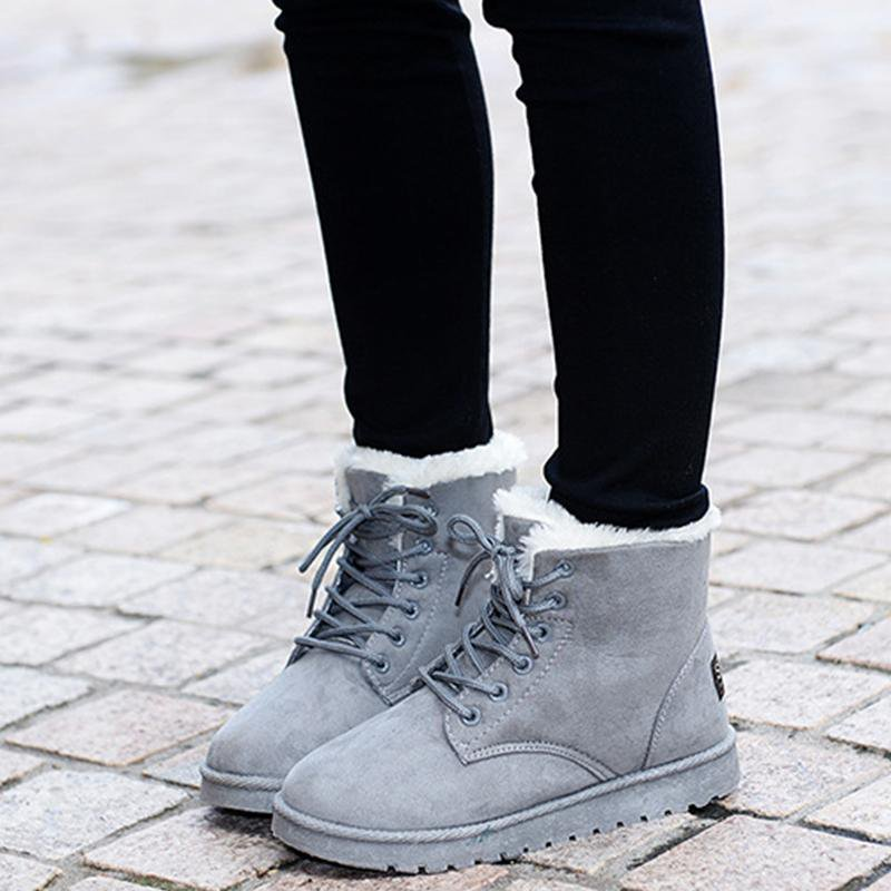 New Ankle Boots For Women Solid Flat Casual Women Snow Boots Lace up Warm Cotton Shoes Girls Winter Boots-BOOTS-SheSimplyShops