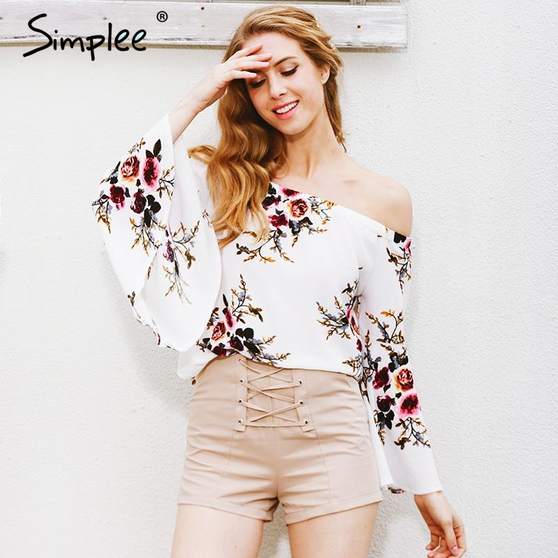 Off shoulder chiffon blouse shirt women Sexy white print blouse Casual flare sleeve cool blouse-Bottoms-SheSimplyShops