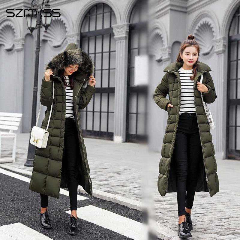 winter long fashion Korean jacket women cotton parka large fur collar large size winter coat ropa invierno mujer