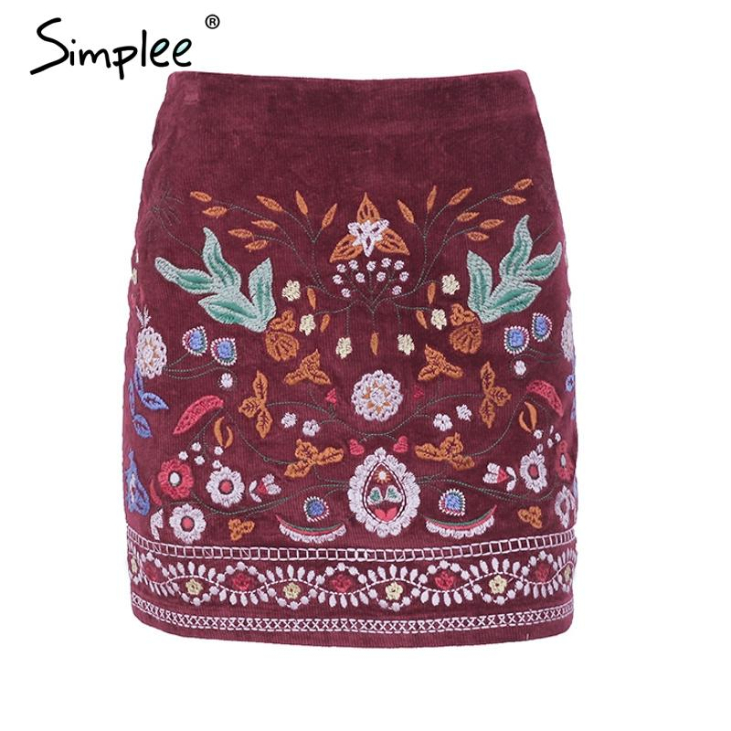 Vintage high waist skirts women bottom Short chic pencil skirt female Embroidery autumn sexy mini skirt-SKIRTS-SheSimplyShops