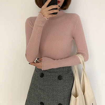 Sueter Mujer Invierno Ruched Women Sweater Slim Vintage Clothes Knitted Turtleneck Elastic Fall Winter Women Pullovers