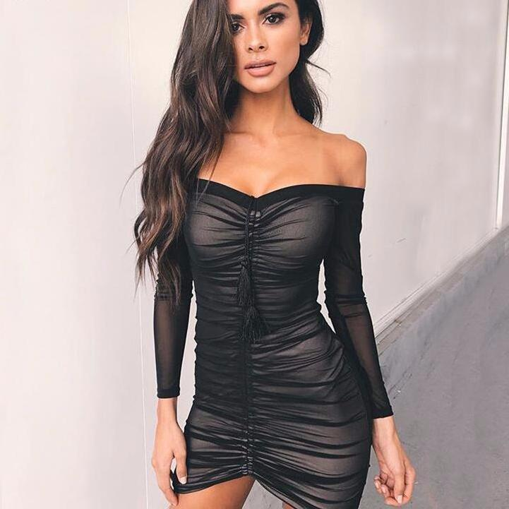 Long Sleeve Strapless Off Shoulder Lift Up Drawstring Ruched Pleated Mesh Women Bodycon Dress-Dress-SheSimplyShops