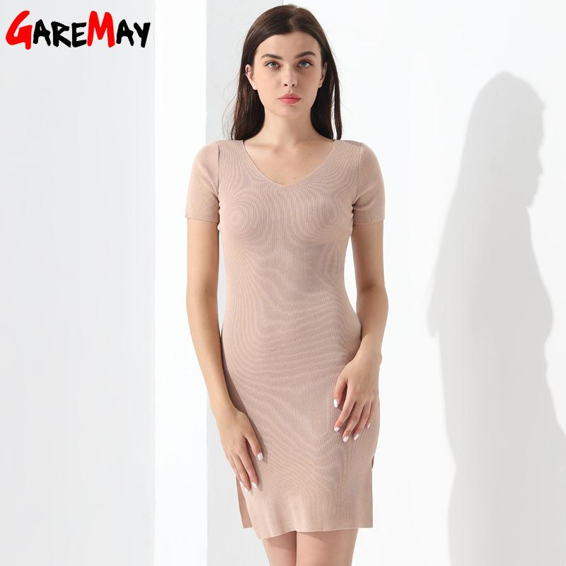 Women Summer Slim Party Dress V Neck Elegant Short Sleeve Elastic Clothing For Ladies-Dress-SheSimplyShops