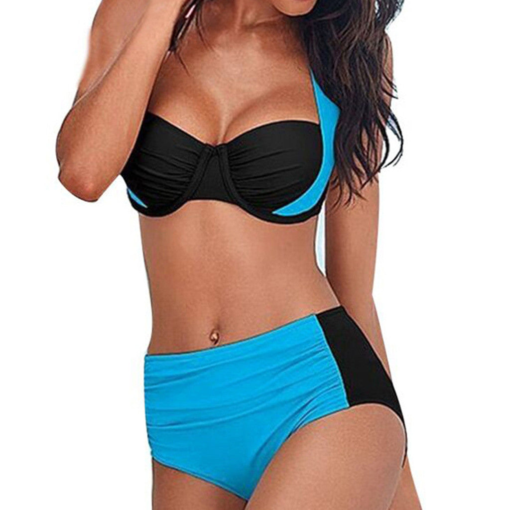 Women Swimwear Triangle Bikini Set Bathing Suit Bikini Beachwear Plus Size Splicing Bandage Push Up Swimsuit tankini Women