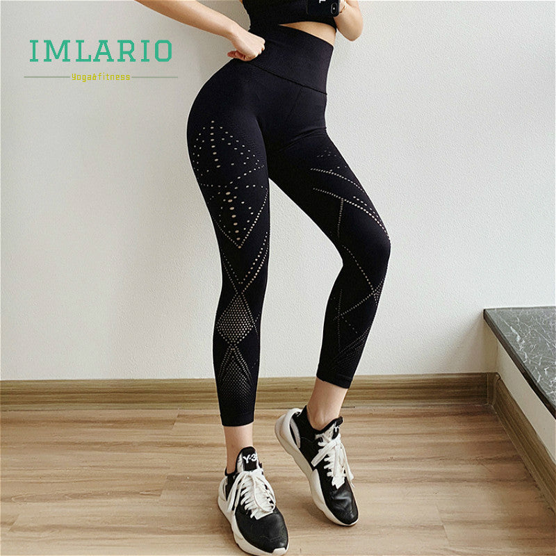 Extra High Waist Energy Gym Yoga Seamless Leggings Black Women Hollow Out Fitness Pant Workout Trousers Butt Lift Sports Tights