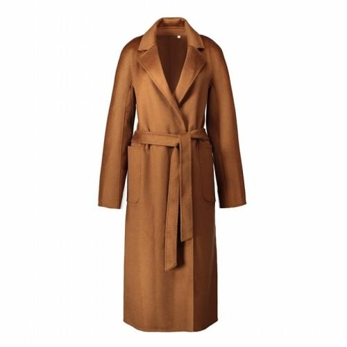 IRINAW901 arrival classic robe style belted long handmade double faced wool cashmere coat women