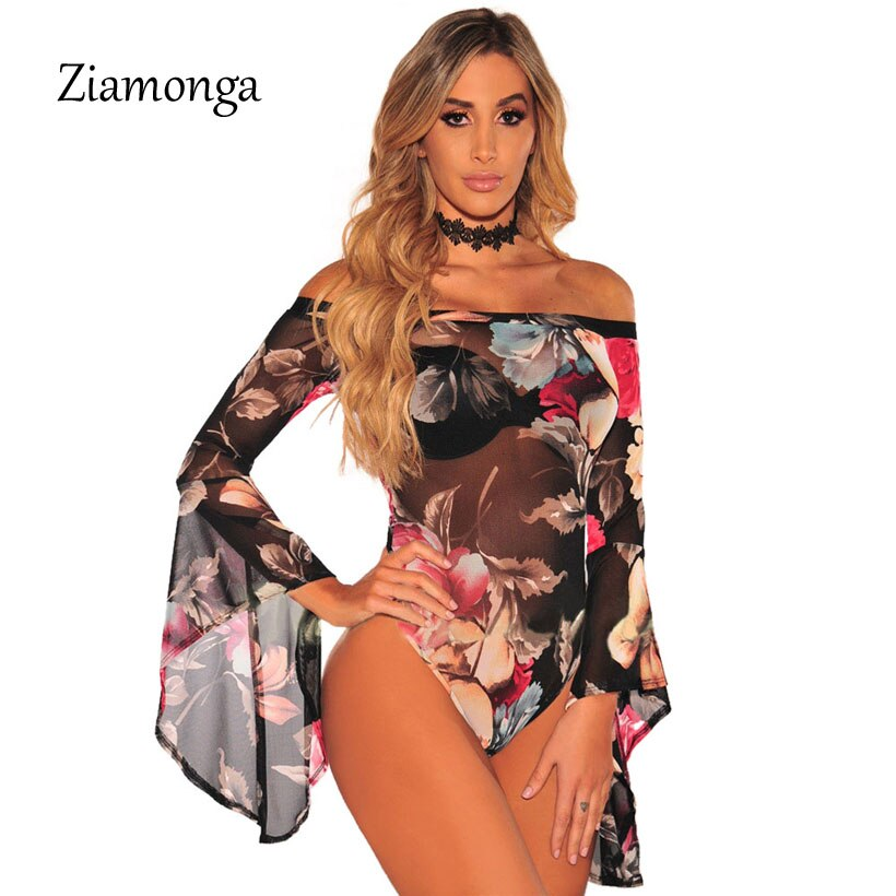 Ziamonga Long Sleeve Strapless Bodysuit Women Ribbed Skinny Crop Top Elegant Print Playsuit Femme Jumpsuit Women Body Suit