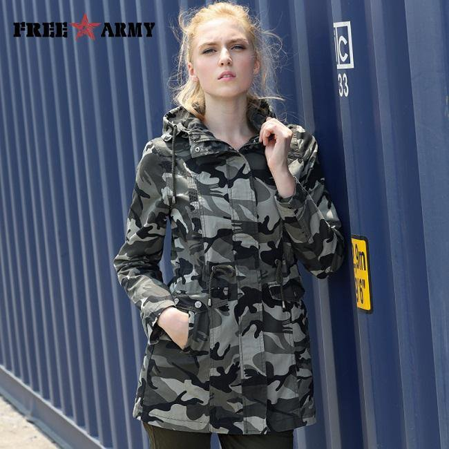 New Fashion Spring Camouflage Jacket Military Pocket Women Jacket With Zipper Slim Casual Women's Coats-Coats & Jackets-SheSimplyShops