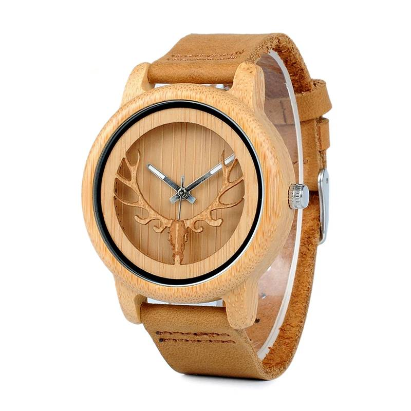 Hollow Deer Head Bamboo Wood Casual Watches for Men Women Ladies Leather Strap Quartz Watch