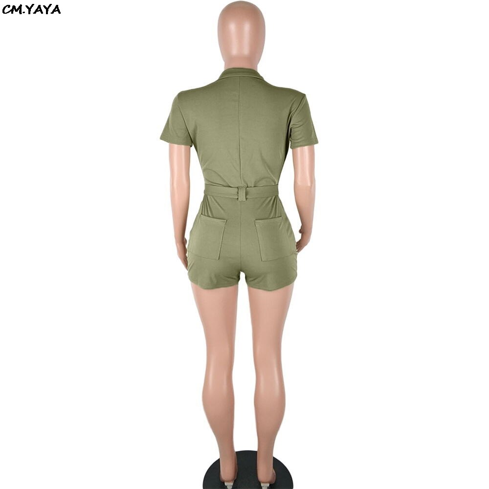 2019 women new zipper up with sashes and pocket short jumpsuit safari short sleeve summer playsuit romper 2 color overall Q5096